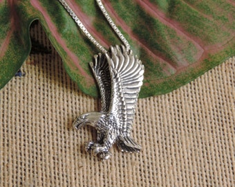 Large Eagle Pendant Sterling Silver with Chain