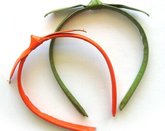 PAIR of 1960s Vintage Hairbands or Headbands in Orange and Avocado Green / Shiny Vinyl with Knot Bow