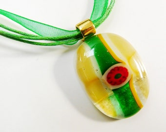Yellow Green Pendant Red Flower Pendant Yellow Green on Clear Glass Pendant  Millefiori Fused Glass