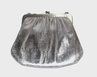 1960s purse / vintage 60s handbag / Harry Levine / Sterling Silver Purse