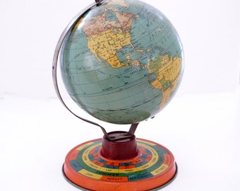 Tin Litho Globe Game, Mid-century World Globe with Zodiac Astrological Signs Base, Tin Toy Globe, Seasons and Months, Childs Tin Toy, 1950s
