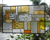 Stained Glass Window, Patchwork Quilt Stained Glass Panel, Geometric Glass Transom Window, Unique Antique Look Stained Glass Window, OOAK