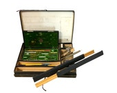 1900s Architect's Case, Rulers, Compass Tool, Vintage Drafting Set