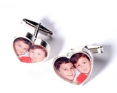 15% Discount My Heart Custom Made Silver Picture Cufflinks
