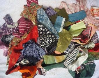 Kimono Silk Scraps  Bag of Forty Strips