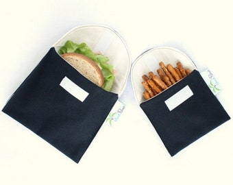 Back to School SALE Eco Friendly Sandwich and Snack Bags, Set of 2 - Organic Cotton, Reusable - Black --- Back to School