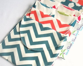 Back to School SALE 4 Reusable Sandwich/Snack Bags - Organic Cotton, Eco Friendly - Choose your sizes and colors --- Back to School