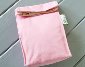 Light Pink Organic Lunch Bag - Organic Cotton, Eco Friendly, Fully Insulated - Back to School Waste Free