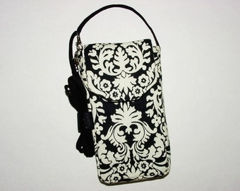 Cell Phone iPhone Smartphone Evo Droid Small Mini Purse Cross Body Bag: Mini Muse Damask Black White