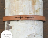 wonderful happiness - adjustable leather bracelet  (additional colors available)