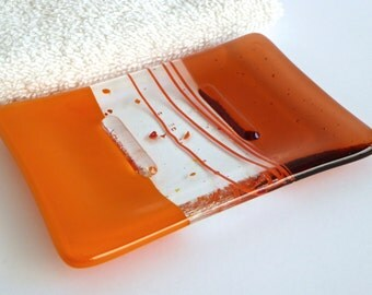 Fused Glass Soap Dish in Orange and Light Coral