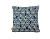 "Hand Printed Organic Cotton Pillow / Cushion Cover 18"" Deco in Indigo"