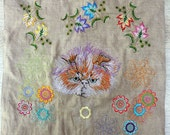 Pillow Cover - Grumpy Fluff Kitten - thread painting on Linen - Textile Art