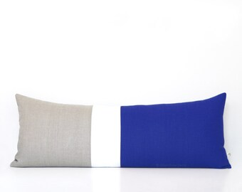 14x35 Cobalt Colorblock Pillow Cover, Bedding, Lumbar Pillow, Decorative Pillows by JillianReneDecor, Extra Long Color Block, Nautical