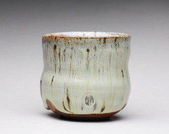 handmade pottery cup, ceramic teacup, yunomi, espresso cup with creamy white wood ash glazes