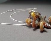 Octopus Pendant with butterscotch coloring Necklace or Earrings or complete set