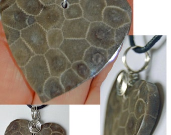 Large heart in genuine Petoskey stone Michigan state stone pendant necklace wirewrapped