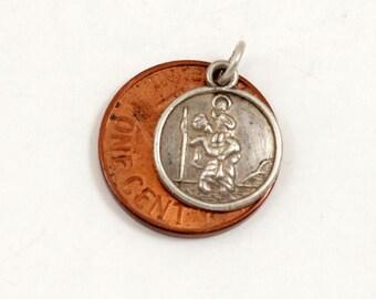 Vintage St Christopher Medal St Christopher Charm Tiny Pendant Sterling Silver Saint Christopher