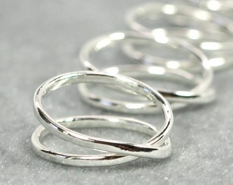 Silver Infinity Ring Gift Set, Five Rings for your Besties, Sea Babe Jewelry