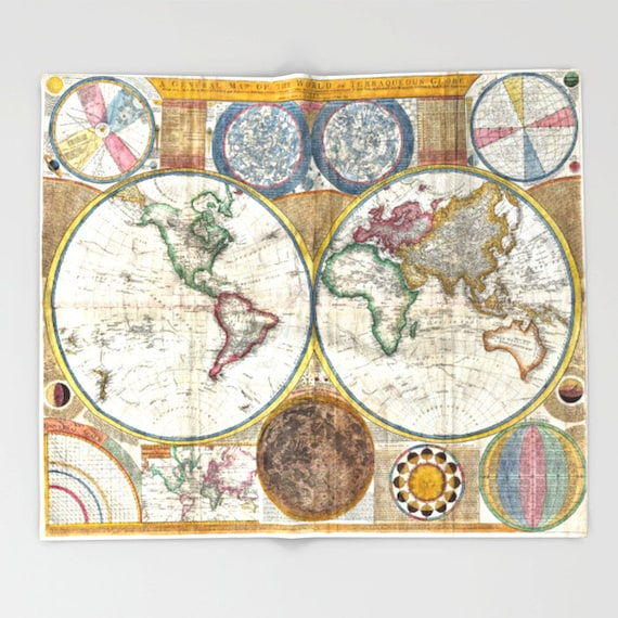 Old World Map Throw Blanket, Super Soft Blanket, Home Decor, Ancient Map Blanket, Antique Map Blanket, Office Throw,Vintage Map Blanket,Dorm