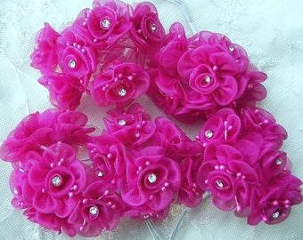 36 pc Fuchsia Fabric Flower Beaded Applique Organza Ribbon Wired w Rhinestone Doll Bridal Wedding Favor Bow Hair Accessory