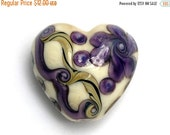 ON SALE 45% OFF Ivory w/Purple & Beige Stringer Heart -11806605-Handmade Glass Lampwork Bead