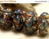 ON SALE 50% OFF Handmade Glass Lampwork Bead Set - Six Blue Free Style Rondelle Beads 10602521