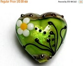 ON SALE 50% OFF New! Handmade Glass Lampwork Bead - 11838505 Spring Green Florals Heart