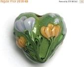 ON SALE 30% OFF Green w/Light Brown Flower Heart Focal Bead - Handmade Glass Lampwork Bead 11805705