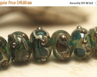 ON SALE 50% OFF Handmade Glass Lampwork Bead Sets - Seven Ocean Blue w/Silver Foil Rondelle Beads 10406701