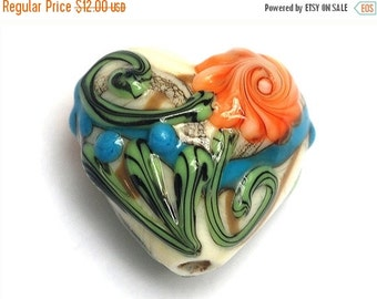 ON SALE 50% OFF Turquoise w/Brown Heart Focal Bead - Handmade Lampwork Bead 11809205