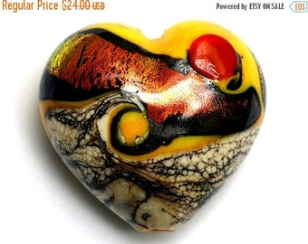 ON SALE 40% OFF Summer Sunset Waves Heart (Large) - 11833825 - Handmade Glass Lampwork Beads