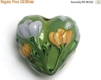ON SALE 30% OFF Green w/Light Brown Flower Heart Focal Bead - Handmade Glass Lampwork Bead 11805705