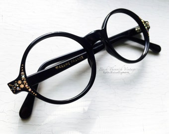 French Black Round Rhinestone Eyeglass Frames France Vintage 1960's Small Adult sized face Indie Hipster Eyewear Grunge Girl