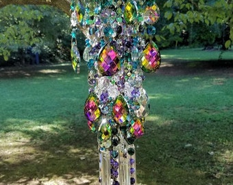 Autumn Magic Antique Crystal Wind Chime, Green and Purple Crystal Wind Chime, Bohemian Wind Chime, Garden Decoration