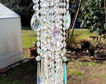 Iridescent Antique Crystal Wind Chime, Aurora Borealis Crystal Windchime, Outdoor Decoration, Window Decoration