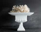 Pair of Vintage Mid Century White Milk Glass Fancy Candy Dishes, Two Fabulous Pedestal Plate Bases