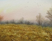 Flight Over the Lowlands, original watercolor painting, landscape