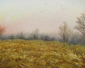 Flight Over the Lowlands, original watercolor painting, landscape