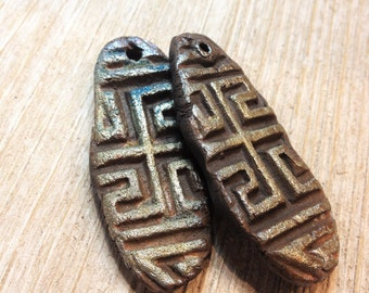 82. Two Tribal Hex Organic Textural  Raku Handmade Primitive Elongated Pendant/Cabochons