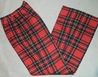 vintage 1970s red plaid pants 70s wool Clan Stewart tartan bell bottoms trousers 27 inch waist