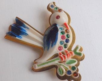 Vintage French celluloid brooch rhinestone brooch or pin bird brooch on branch hand painted  brooch on brass