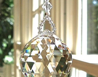 """Crystal Light Pull, Fan Pull or  Suncatcher, Swarovski 30mm Crystal Ball (Choice of 14 Colors) - """"SIMPLICITY"""""""