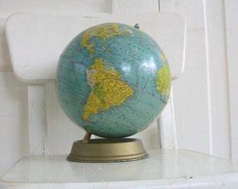 Vintage Globe, Small Globe, 7 inch Terrestrial Globe, Cardboard Globe, Blue, Industrial Decor