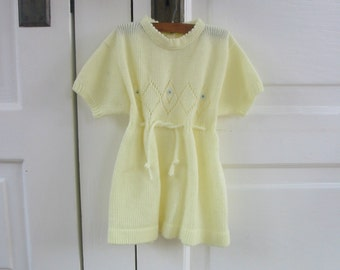 Vintage Baby Girl Knit Dress Yellow Sweater 18 months