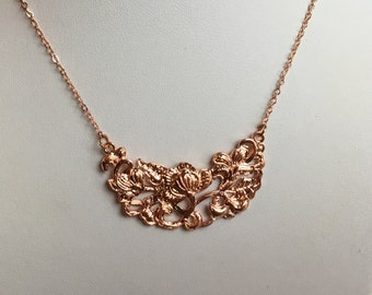 Rose Gold Bib Necklace, Bib necklace, bridesmaids gift, floral pendant, rose gold jewelry,