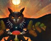 HORNED OWL WOODFIRE ※ Dawn Redwood Amanita Psilocybin Mushroom Solar Wheel Bones Stars Sun Return to the Moss Art Print