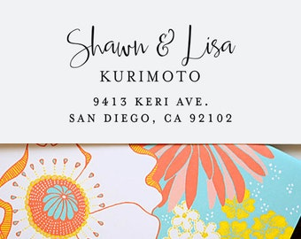 Wedding Address Stamp, Self Inking Address Stamp, Custom Address Stamp, Return Address Stamp, Personalized Gift, Wooden Rubber Stamp - 1052