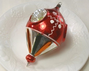 """Rare Mercury Glass Ornament - Stunning Blown Glass 1930s German Fluted Parachute Balloon Indent Ornament inSilver Red Green Large 5 1/4"""""""