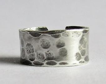 Hammered Sterling Silver Ear Cuff - 10 mm Ear Cuff - 7 mm Ear Cuff - Handmade Modern Bohemian Jewelry - Non Pierced Ear Cuff